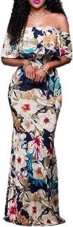 (ウォ2U)Woo2u レディース 花柄 半袖 肩見せ ファルバラ 通勤 二次会 ビーチ パーティー お呼ばれ フォーマル ワンピース 結婚式 マキシ丈 カジュアル フィッシュテールドレス