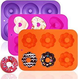 3 Pack Silicone Baking Tray Doughnut Maker Moulds, FineGood Cupcake Tray Silicone Muffin Molds Donut Pan Bagel Making Moul...