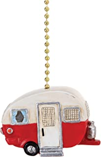 Red and White Happy Camper Ceiling Fan Light Dimensional Pull