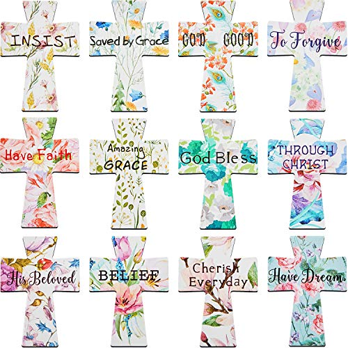 36 Pieces Magnetic Bookmarks Floral Magnet Page Marker Colorful Magnetic Bookmark Cute Magnet with Inspiration Sayings for Students Office Church Supplies, 12 Designs