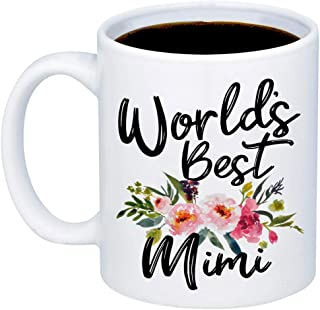 MyCozyCups Gift For Grandma - Worlds Best Mimi Coffee Mug - Cute Funny 11oz Cup For Your Grandmother, Meme From Granddaughter, Grandson For Christmas, Birthday, Retirement, Mother's Day - Mimi Gifts