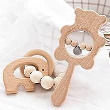 bopoobo Natural Non-Toxic Teething Bracelet Teether Rattles Wood Teethers for Babies 2pc Beech Satisfies Chewing Set