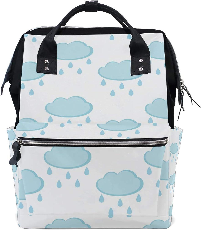 f0cbff2aef2d FAJRO Light bluee CloudTravel Backpack Handbag School Pack Canvas ...