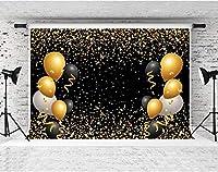写真撮影用HDバルーン背景10x7ftソフトコットンゴールデンスポット黒の背景テーマパーティーの装飾バナーYouTubeフォトビデオ撮影小道具LYFS1106