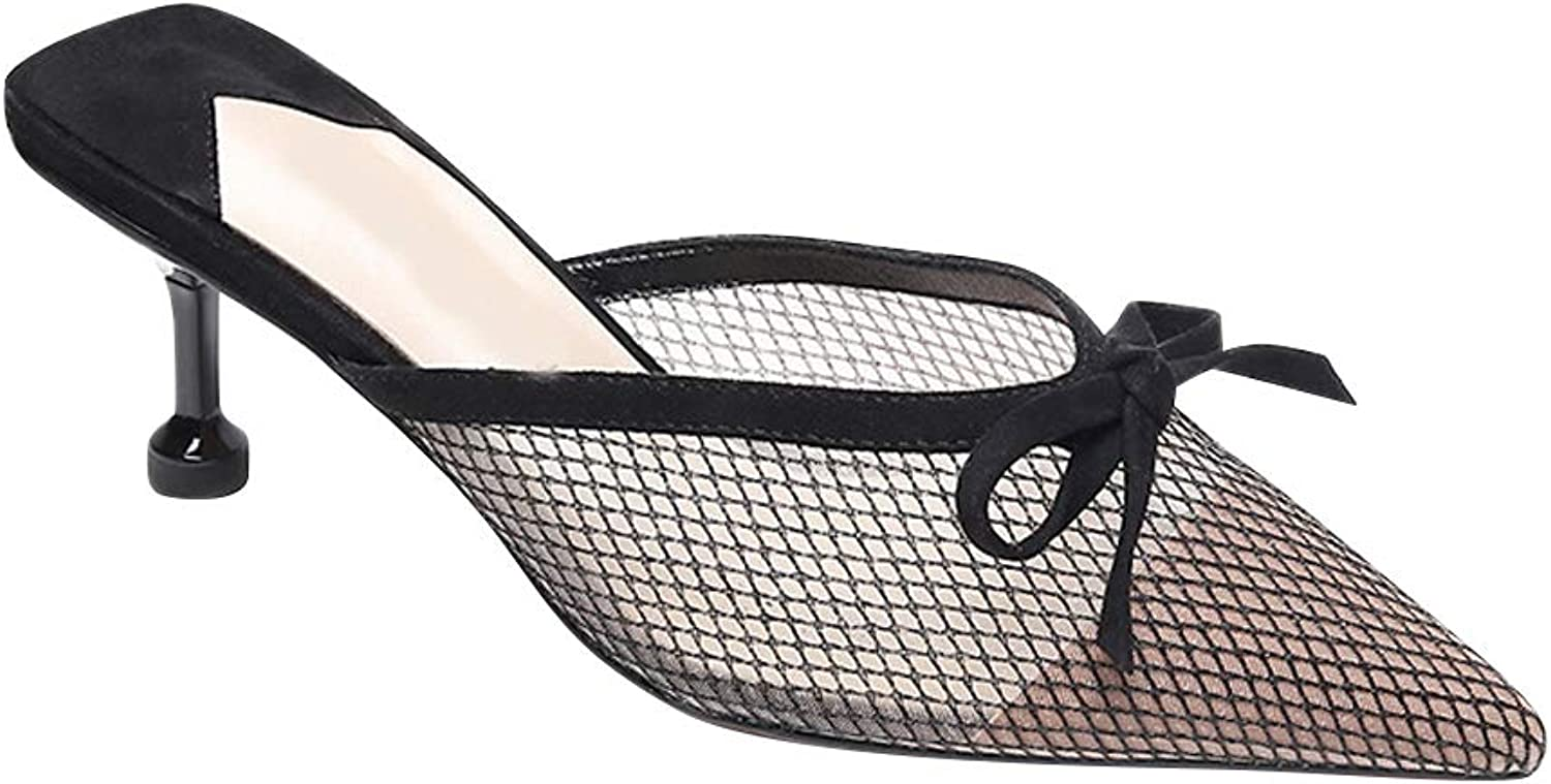Uirend Womens Slingback Pointed - Sandals Hollow Slippers Mesh Mule Summer Rhinestone Kitten Heel Bow Fashion Slip On Classic
