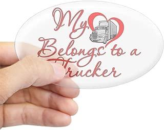 CafePress My Heart Belongs to a Trucker Sticker (Oval) Oval Bumper Sticker, Euro Oval Car Decal