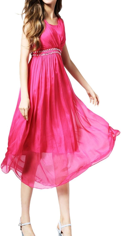 CDCLOTH Women's Summer Silk Long Dress Handbeaded Mulberry Silk Beach Dress