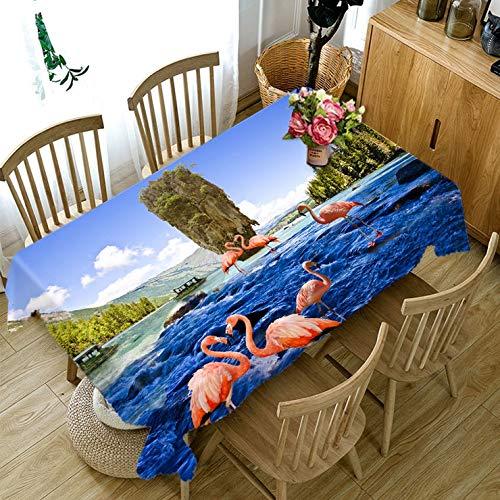 Nappe de Motif Animal Flamant Rouge 3D Lavable en Coton rectangulaire Nappe de Table à Manger pour la Variation de Banquet de Mariage A4