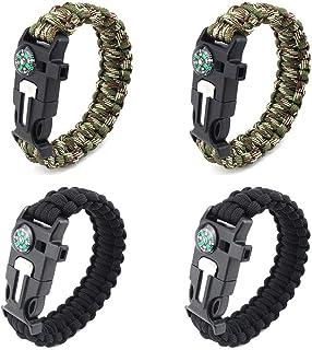 Bracelet De Survie avec R/églable en Acier Inoxydable Manille Paracord Bracelet Tactique Corde Cordon Bracelets Ultime pour Camping Chasse Randonn/ée Arm/ée Verte 8inch 1pc