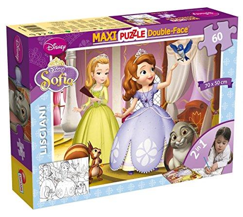 Lisciani Puzzle Maxi Floor para niños de 60 piezas 2 en 1, Doble Cara con reverso para colorear - Disney Sofia 46560