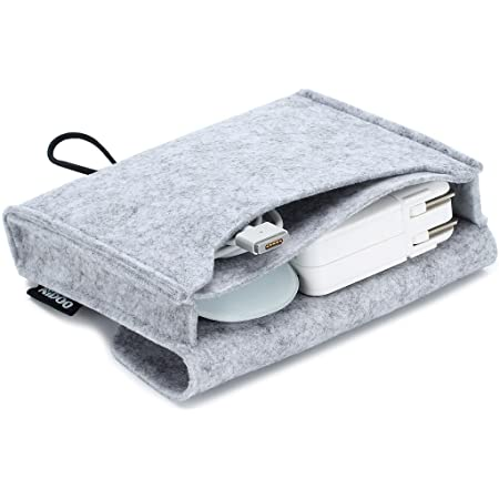 NIDOO Portable Felt Storage Bag, Electronics Accessories Protective Case Pouch for MacBook Power Adapter, Mouse, Cellphone, Cables, SSD, HDD, Power Bank, Portable External Hard Drive, Gray