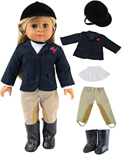 American Fashion World Riding Outfit with Helmet and Boots Made for 18-inch Dolls fits 18-inch American Dolls and More