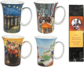 4 Post Impressionists Coffee or Tea Mugs in a Matching Gift Box and 6 Tea Bags, Bundle 2 Items