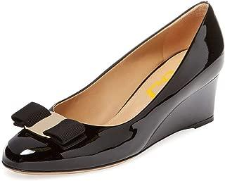 Women Elegant Wedge High Heels Pumps Closed Toe Slip On...