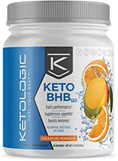 KetoLogic BHB,  Orange & Mango | Ketone Supplement, Suppresses Appetite, Increases Energy, Low Carb, Electrolytes, Beta-Hydroxybutyrate Salts | 60 Servings