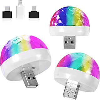 3 Pack Disco Lights, 7 Colors Disco Ball Disco Lights for Parties Disco Ball Light USB Disco Light Sound Activated 4W RGB ...