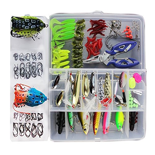 Fishing Lure 233Pcs 1 Set Freshwater Saltwater Trout Bass Salmon Spinner Baits Topwater Fishing Frogs Lures Fishing Tackle Crankbaits Lures Spinner Baits Spoon Lures with Plier