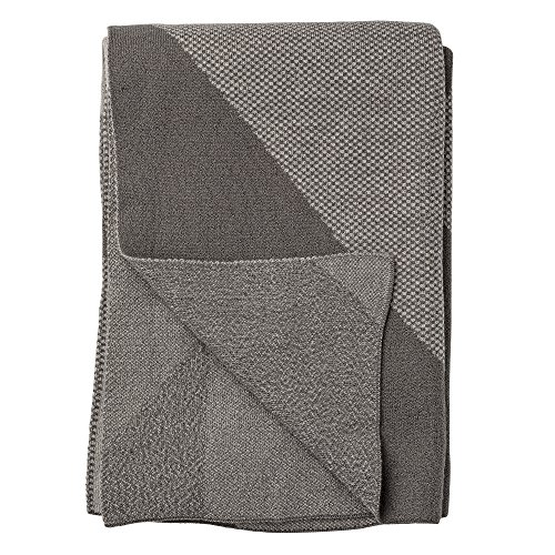 Bloomingville Couverture tricotée grise mélangée à motifs géométriques.