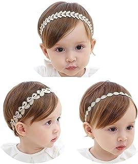 [kiejun] ベビー ヘアバンド ゴールド 髪飾り ヘアアクセサリー 3点セット フォーマル リボン セレモニー 赤ちゃん 新生児 お宮参り お祝い 結婚式 ki-033