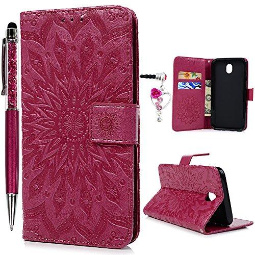 SUPWALL Funda para Samsung Galaxy J7 2017(J730), Wallet Flip Case Cover Libro de Cuero Impresión de Girasol, Soporte Plegable, Ranuras para Tarjetas y Billete - Rosa Rojo