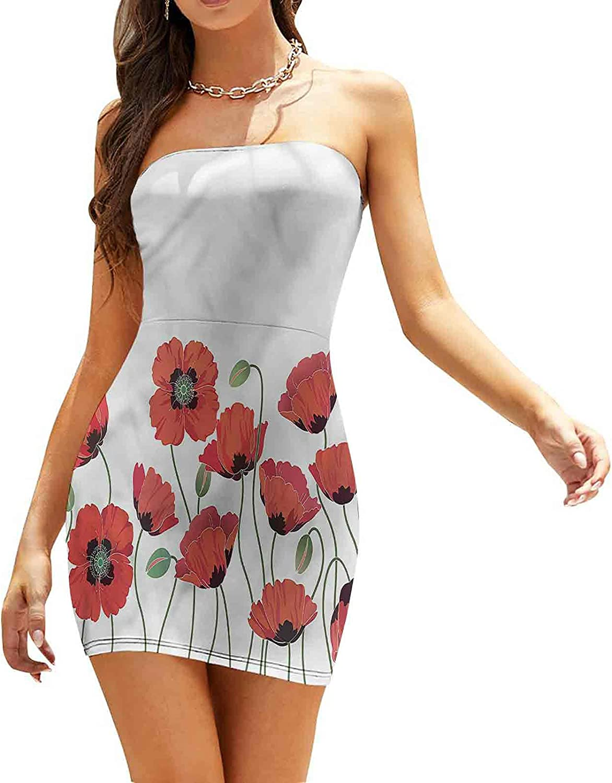 Women's Summer Strapless Dresses Monochrome Petals and Hearts Dresses
