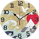 Jacque Dusk Reloj De Pared De Grúa Japonesa, Silencioso, Sin Tictac, Acrílico, Oficina En Casa, Escuela, Reloj Redondo Decorativo, Arte,10 Pulgada/Diámetro 25 CM