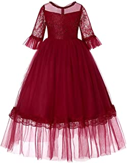 Princess Dress Spring Girls' Birthday Party Sleeve Dress (Color : Wine Red, Size : 130cm)