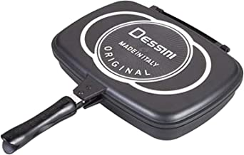 Dessini Two-Sided Double Grill Non-stick Teflon Pan 36 cm, Black