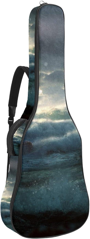 Bolsa de guitarra acústica faro en Hearvy Storm impresión personalizada tamaño completo caja de guitarra bolsa de concierto con asa acolchada correa de hombro