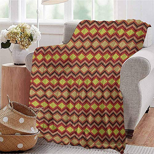 Luoiaax Tan and Brown Comfortable Large Blanket Knitting Themed Graphic Pattern with Zigzag Ornamental Chains and Warm Hues Microfiber Blanket Bed Sofa or Travel W70 x L70 Inch Multicolor