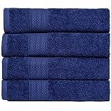 BRIELLE Juego de 4 toallas de mano de 50 x 100 cm, de algodón, muy absorbentes para el baño, toalla de ducha en calidad de...