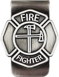 Fire Fighter Emblem 3.5 inch Antique Silver Metal Mens Money Clip Holder