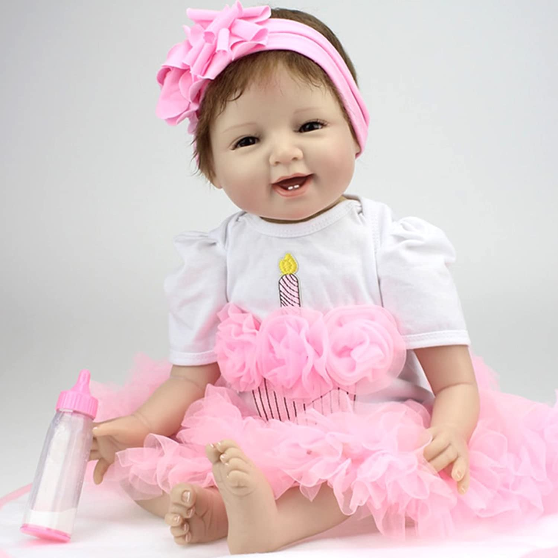 ZIYIUI Babypuppen Spielzeug Reborn Baby Dolls Lebensechte Puppen mit Outfit - mädchen Geburtstagsgeschenk 22  silikon Vinyl Lebensecht Rosa Kleid Baby Puppen B07Q1P77QN Verrückter Preis, Birmingham    Gewinnen Sie das Lob der Kunden