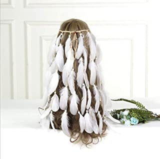 ZHM Feather Hair Accessories, Solid Color Feather Headdress Retro Feather Hair Accessories Bohemian Fringe Headband Hippie Hair Tie