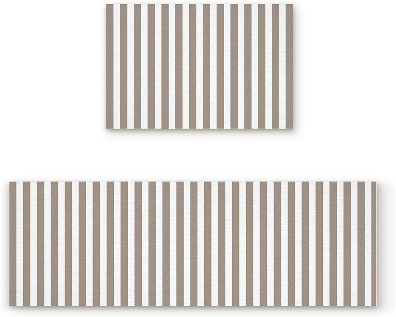 Findamy Non-Slip Indoor Door Mat Entrance Rug Rectangle Absorbent Moisture Floor Carpet for Simple White and Brown greenical Stripe Pattern Doormat 19.7x31.5In+19.7x63In