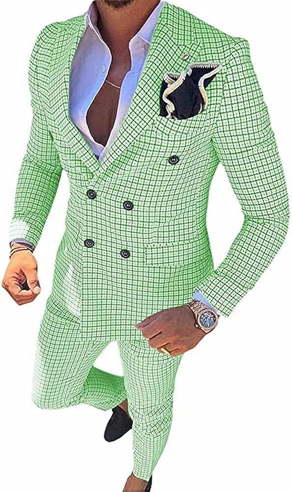JoyVany Men's 2 Piece Suit Set Slim Fit Wedding Blazer Jacket Tux Suit Pants