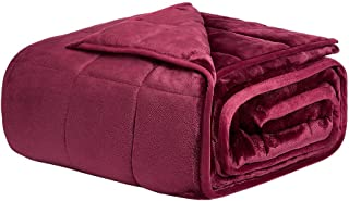 NEWSHONE Weighted Blanket 15 lbs for Adults - Queen/King size  60''x80'' -  Fuzzy Flannel Fleece Material with  Glass Beads  (Fuchsia )
