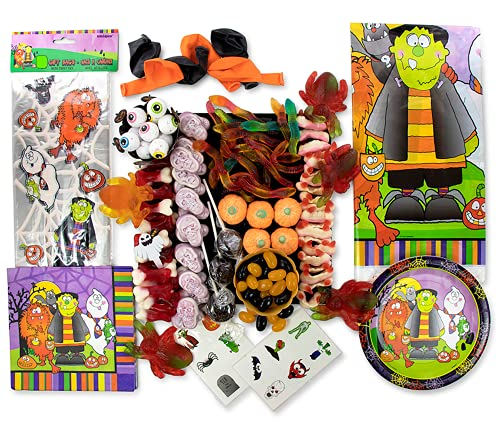 Halloween Decorations Party Pack of Disposable Tableware and Sweets – Horrible Trick or Treat Sweets Bundled with Monster Treat Bags, Tablecloth, Plates (8 set), Napkins, Balloons and Temp Tattoos