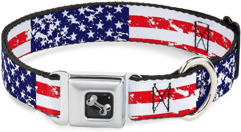 BuckleDown DCW32120M Dog Collar Seatbelt Buckle, United States Flags C U Weathered, 1  X 1117