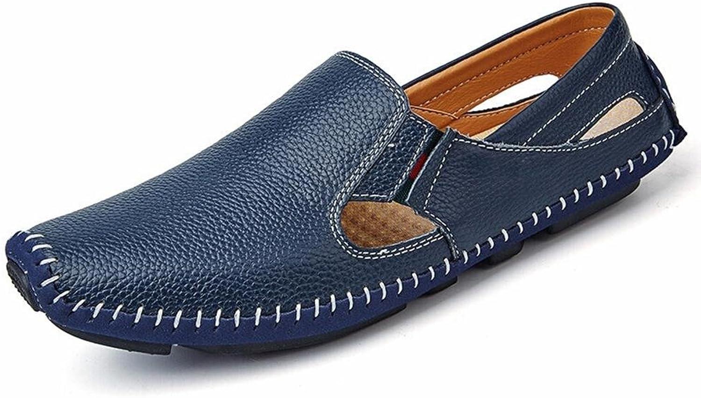 FFTX Mens Leather Sandals Summer Handmade sand beach shoes Fashion