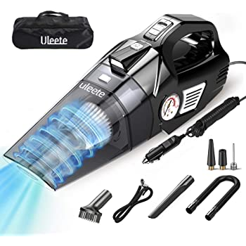 Portable Car Vacuum Cleaner with Air Compressor Pump Tire Inflator for Car Interior Cleaning DC12V 120W 4500Pa High Power Handheld Vacuum with LED Light 3 Nozzle Wet//Dry Use