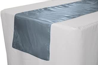"""LA Linen Sheer Mirror Organza Table Runner, 14"""" x 108"""", Navy Blue"""