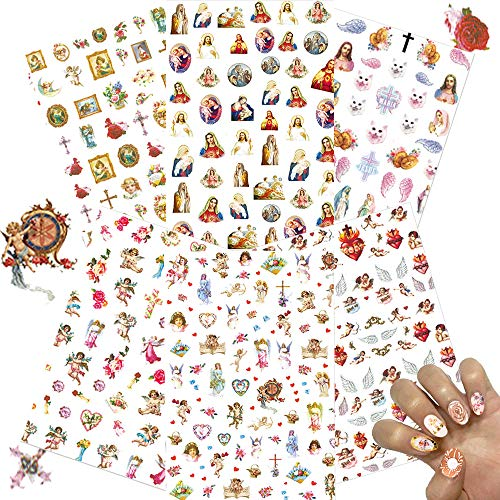 Nail Art Stickers Decal,Self-adhesive 3d Nail Decorations Cupid Baby Angels Wings Virgin Mary Jesus Christ Pattern Manicure Accessories for Valentine's Day Nails Design(6 Sheets)