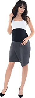 Purpless Maternity Pregnancy Asymmetric Skirt with Over and Under Belly Support Band Office Work 1508