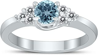 5MM Aquamarine and Diamond Cynthia Ring in 10K White Gold