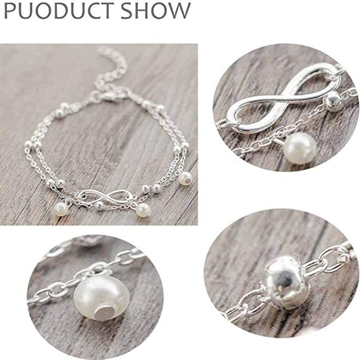 Anklet Jewelry Female Hand Beaded Double Chain Footwear Beach Footwear Fashion Simple and Generous
