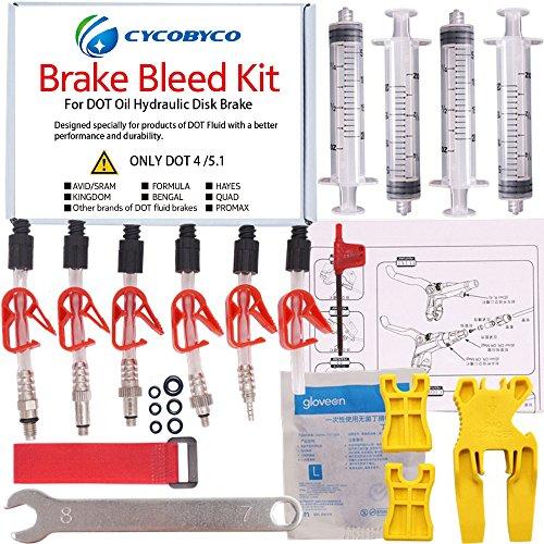 Cycobyco Bremsentlüftungsset für DOT Scheibenbremsen, Fahrrad-Werkzeug für Avid, Sram, Dode, Juicy, Hope, Bngal, Hayes J3J5J7Formula, Genaral kit
