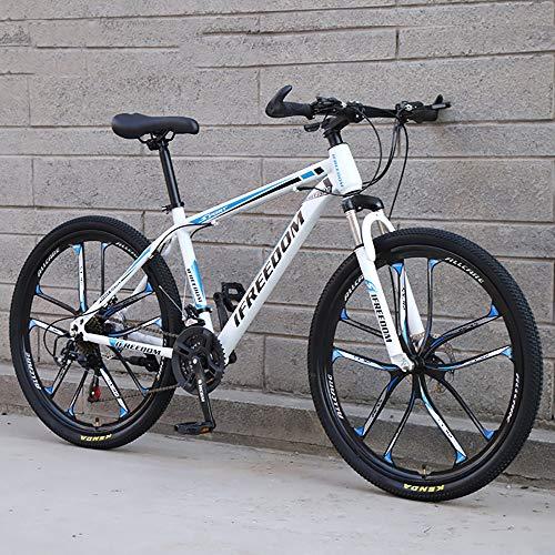 XQY Mountain Bike 26 Inch One Wheel High Carbon Steel 21 Speed Variable Speed Full Suspension Double Disc Brake Mountain Bike,Blue