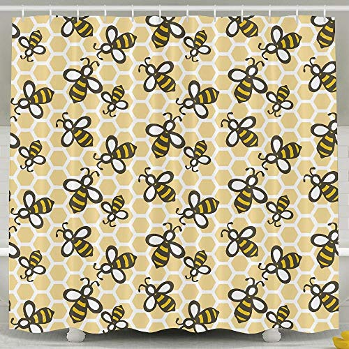 DGFhk Honey Bees Bathroom Curtains Shower Rings Included 60