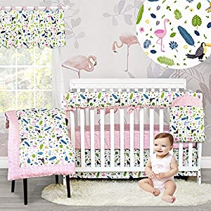 crib bedding and baby bedding brandream crib bedding sets for girls flamingo nursery pink bedding with feather print neutral cradle set with rail cover 6 piece, 100% cotton